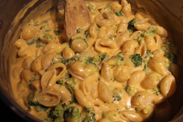 cheesy shells and broccoli