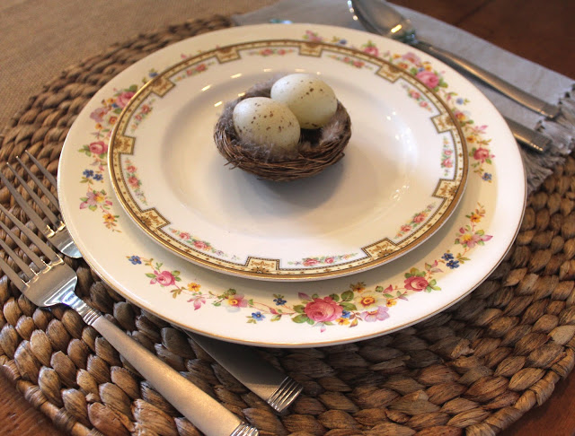 mixed china easter tablescape
