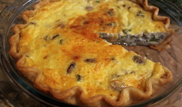 spring mushroom and asparagus quiche