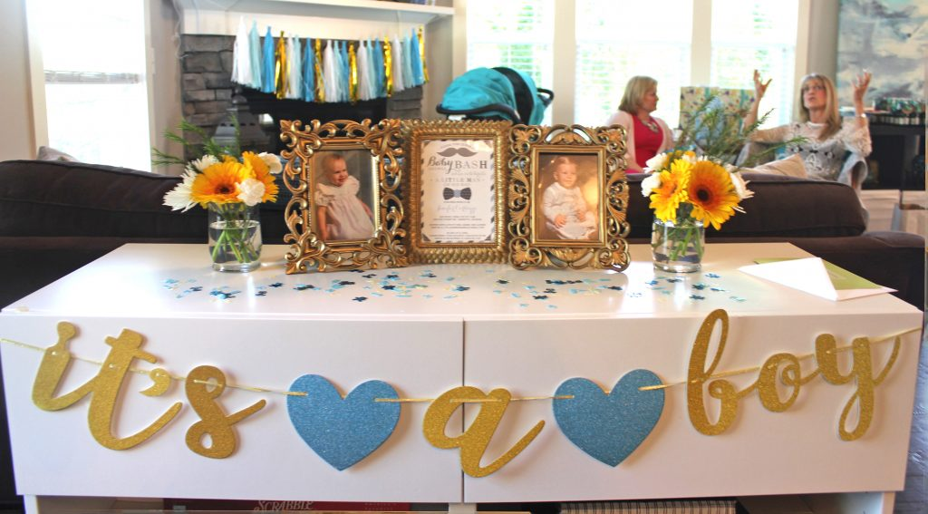 shades of blue and gold baby shower